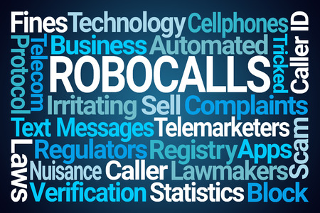Robocalls Word Cloud on Blue Background Stock Photo