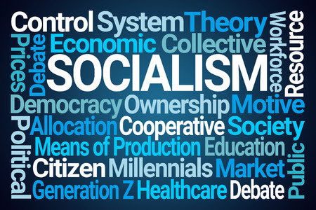 Socialism Word Cloud on Blue Background 写真素材