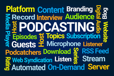 Podcasting Word Cloud on Blue Background Stockfoto