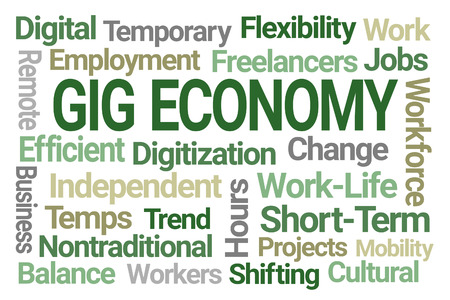 Gig Economy Word Cloud on White Background