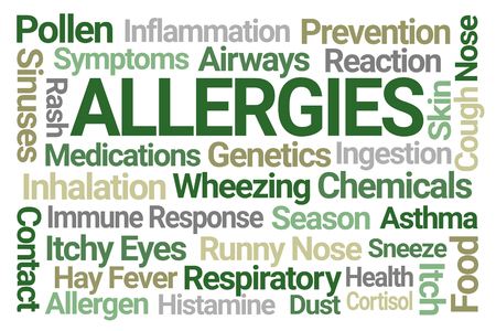 Allergies Word Cloud on White Background