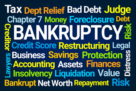 Bankruptcy Word Cloud on Blue Background 免版税图像