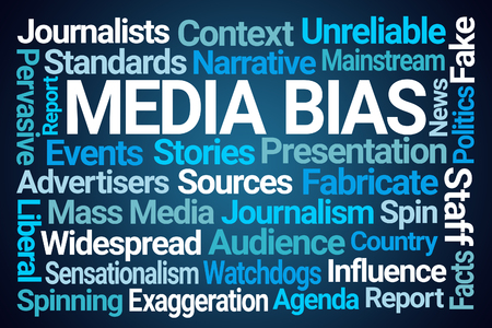Media Bias Word Cloud on Blue Background