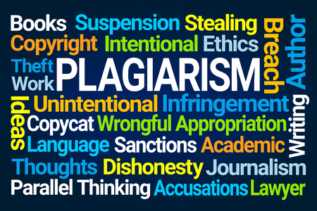 Plagiarism Word Cloud on Blue Background