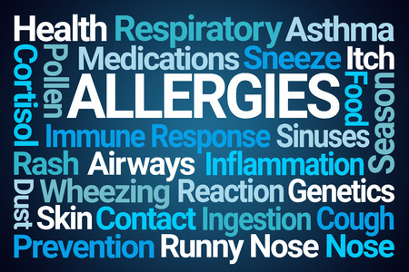 Allergies Word Cloud on Blue Background Stock Photo