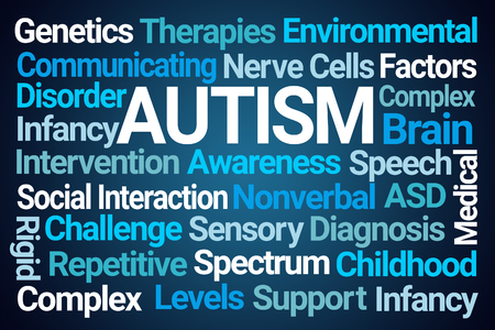 Autism Word Cloud on Blue Background