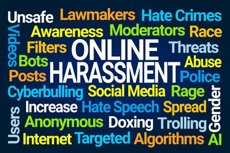 Online Harassment Word Cloud on Blue Background