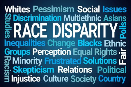 Race Disparity Word Cloud on Blue Background