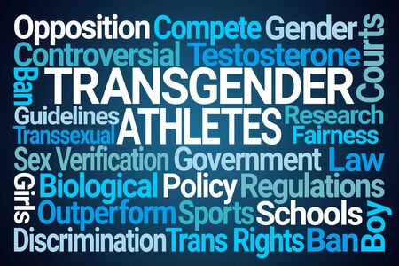 Transgender Athletes Word Cloud on Blue Background