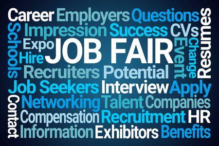 Job Fair Word Cloud on Blue Background