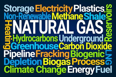 Natural Gas Word Cloud on Blue Background