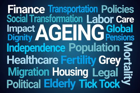 Ageing, Word Cloud on Blue Background