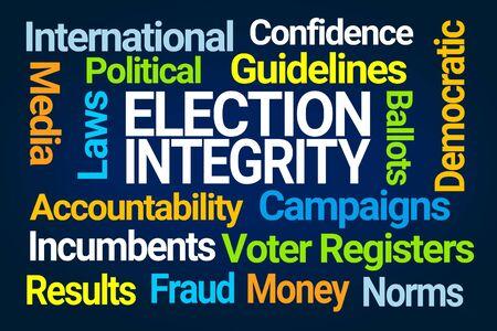 Election Integrity Word Cloud on Blue Background Reklamní fotografie