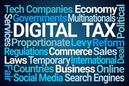 Digital Tax Word Cloud on Blue Background