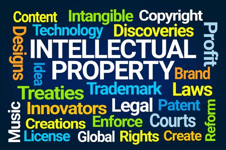 Intellectual Property Word Cloud on Blue Background 版權商用圖片