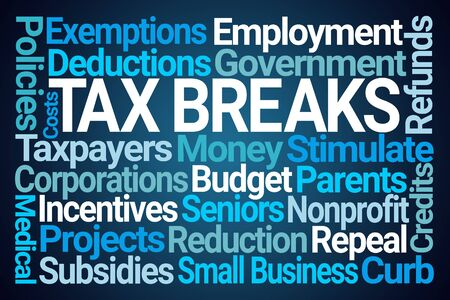 Tax Breaks Word Cloud on Blue Background Stock Photo