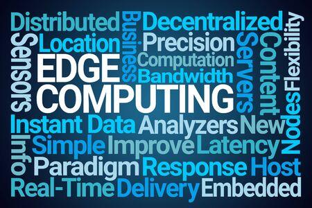 Edge Computing Word Cloud on Blue Background