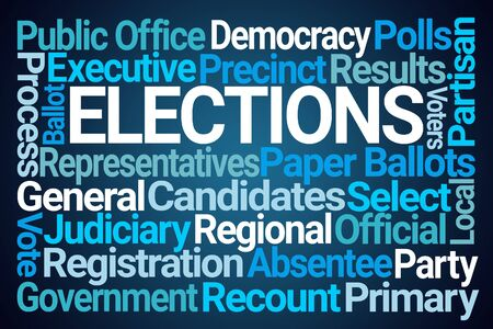 Elections Word Cloud on Blue Background