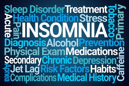 Insomnia Word Cloud on Blue Background