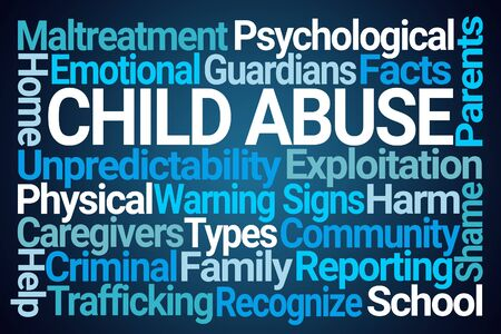 Child Abuse Word Cloud on Blue Background