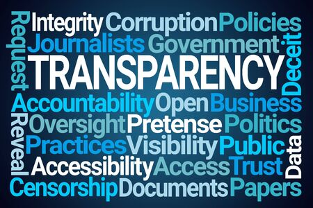 Transparency Word Cloud on Blue Background Stok Fotoğraf