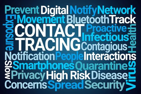 Contact Tracing Word Cloud on Blue Background