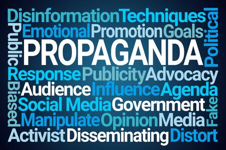 Propaganda Word Cloud on Blue Background