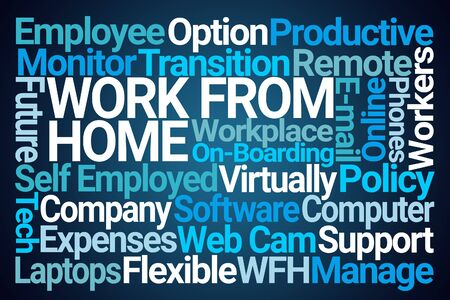 Work From Home Word Cloud on Blue Background