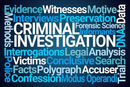 Criminal Investigation Word Cloud on Blue Background
