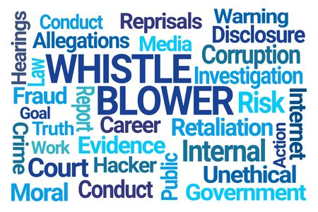 Whistle Blower Word Cloud on White Background Stock Photo