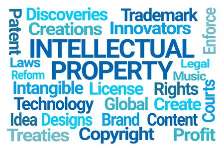 Intellectual Property Word Cloud on White Background