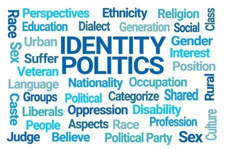 Identity Politics Word Cloud on White Background