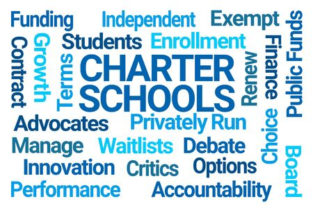 Charter Schools Word Cloud on White Background Banque d'images