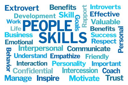 People Skills Word Cloud on White Background Banco de Imagens
