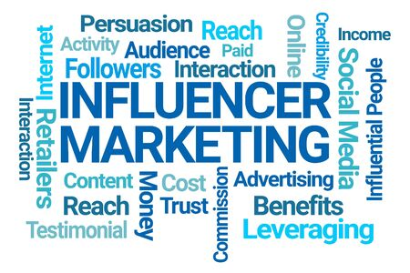 Influencer Marketing Word Cloud on White Background 写真素材