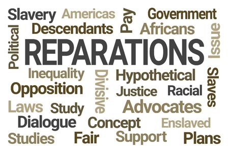 Reparations Word Cloud on White Background