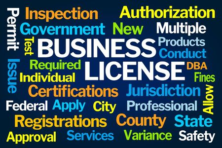 Business License Word Cloud on Blue Background