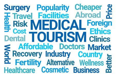 Medical Tourism Word Cloud on White Background