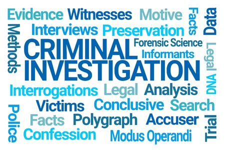 Criminal Investigation Word Cloud on White Background