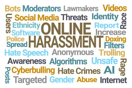 Online Harassment Word Cloud on White Background Stock fotó