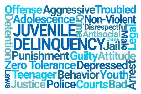 Juvenile Delinquency Word Cloud on White Background