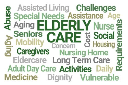 Elderly Care Word Cloud on White Background