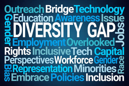Diversity Gap Word Cloud on Blue Background Banco de Imagens - 151006693