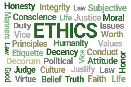 Ethics Word Cloud on White Background