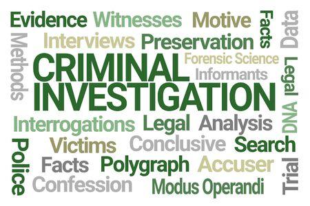Criminal Investigation Word Cloud on White Background