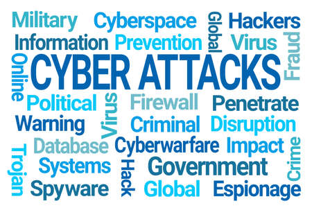 Cyber Attacks Word Cloud on White Background