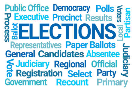 Elections Word Cloud on White Background