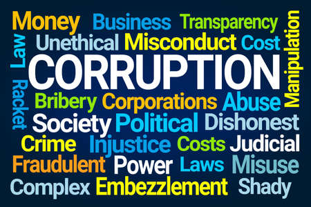 Corruption Word Cloud on Blue Background