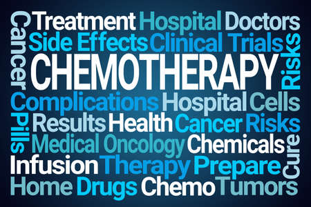 Chemotherapy Word Cloud on Blue Background