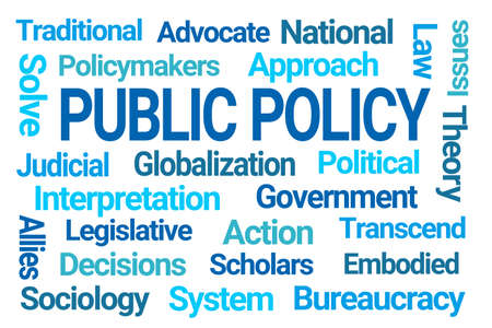 Public Policy Blue Word Cloud on white